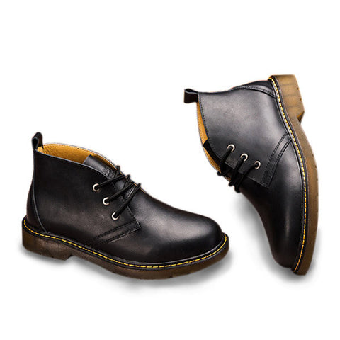 Men Big Size British Style Lace Up Short Martin Boots Oxford Shoes