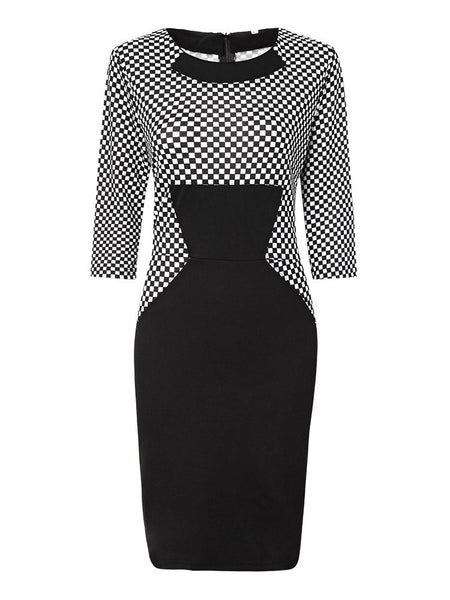 Plaid Patchwork Slim Work Pencil Dress