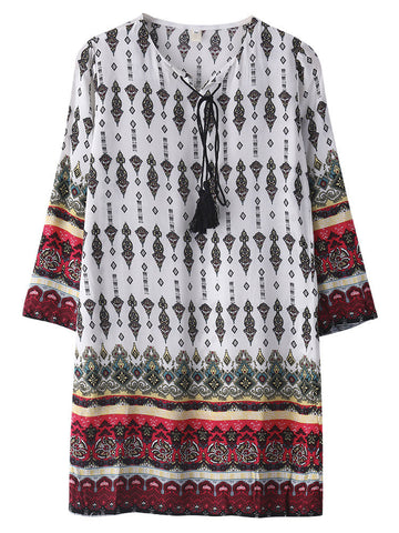 Bohemian Printed 3/4 Sleeve V Neck Printed Mini Dress For Women - shechoic.com