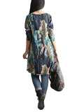 Vintage Women Long Sleeve O Neck Floral Printed Pocket Cotton Dress