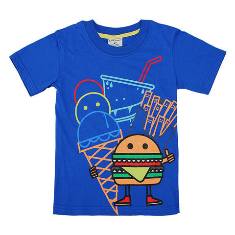 Maven Lovely Hamburger Baby Children Boy Cotton Short Sleeve T-shirt Top