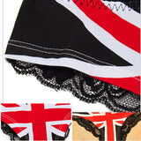 Women Sexy Flag Leopard Print Briefs Transparent Back Lace Temptation Panties Underwear