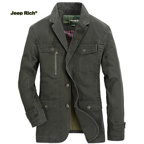 Jeep Rich? Men's Spring Outdoor Windproof Jacket Lapel Solid Color Casual Business Cotton Coat