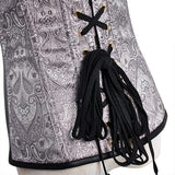Women Sexy Leather Brocade Zipper Bustiers Steel Bone Waist Slimming Overbust Corset