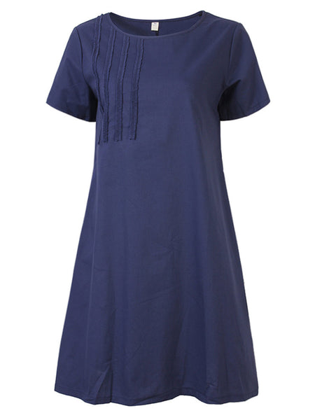 Vintage Short Sleeve Embroidered Solid Color Dress For Women