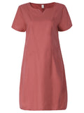 Women Pure Color V-Neck Pocket Short Sleeve Dress Loose A-Line Dress