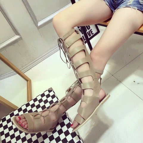 Bandage Strappy Lace Up Peep Toe Knee High Zipper Flat Roman Gladiators Sandals