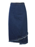 Women High Waist Tassels Split Pencil Denim Skirt