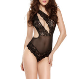 Sexy Cut Out Lace Mesh Temptation Teddies One-shoulder Nightwear For Women