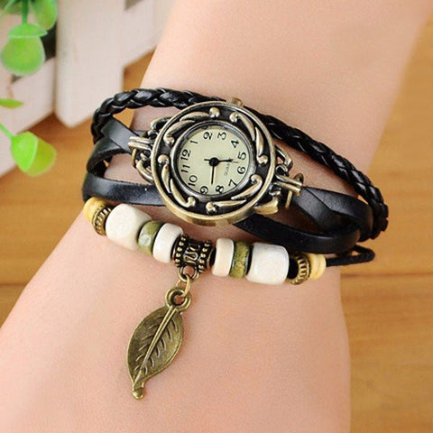 Multilayer Braided Leaf Bracelet Watch