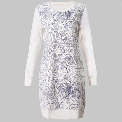 Casual Printing Long Sleeve Round Neck Nightdress Cotton Nightgown For Women