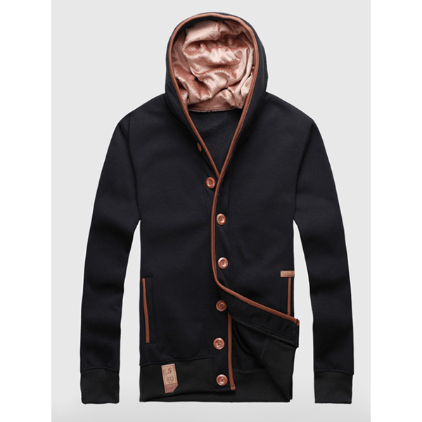 Men's Spring Sport Hooded Jacket Thin Single Breasted Hoodies
