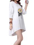 Women Flower Printing Irregular Cotton Linen Mini Dress