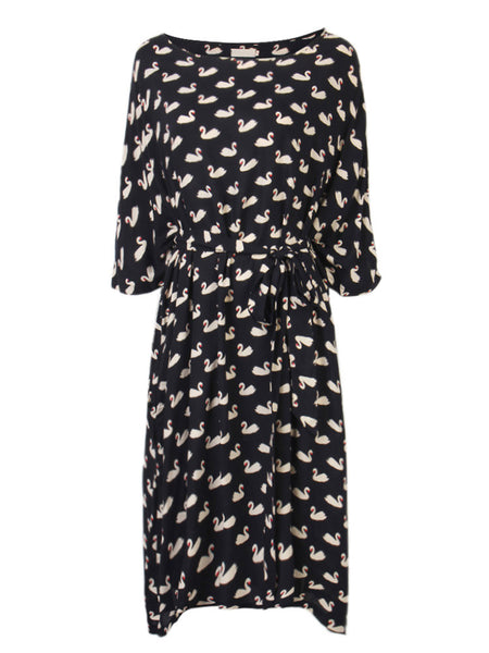 Loose Women Swan Animal Printed Bohemian Party Dress With Belt