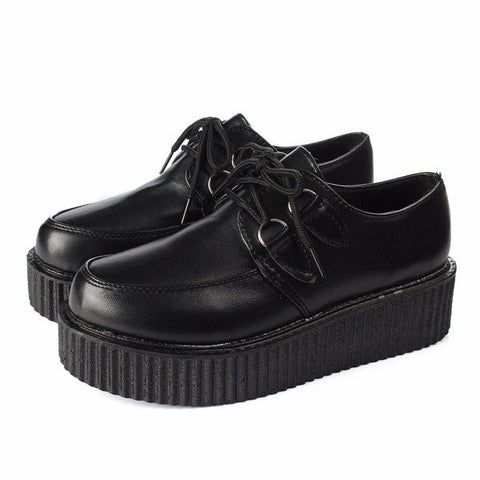 Retro Pure Color Platform Flat Lace Up Shoes
