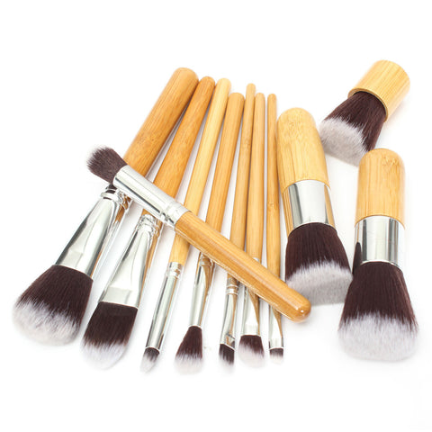 11 Pcs Wood Handle Makeup Brush Set Eyeshadow Foundation Concealer Cosmetic Tool