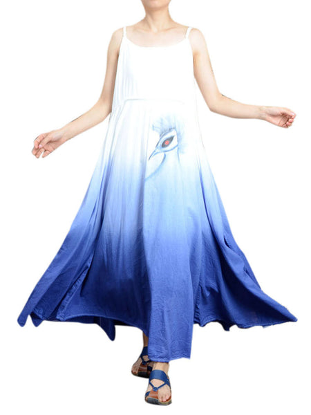 Loose Women Strap Peacock Printing Gradient Color Dress