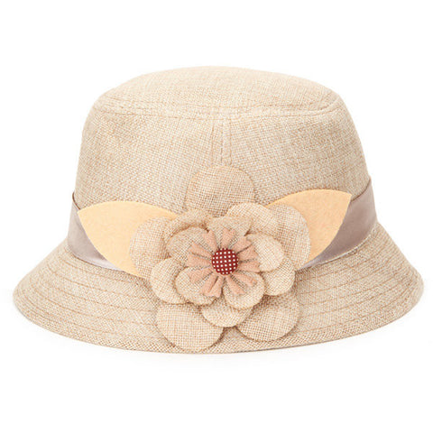 Big Flower Flax Sunshade Hat Breathable Hollow Out Linen Beach Straw Cap - shechoic.com