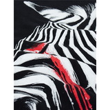Summer Mens Unique Zebra Printing Black Round Neck Short sleeved Tshirts
