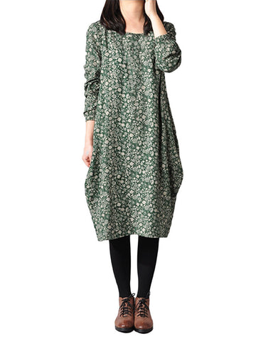 Casual Loose Floral Printed Linen Long Sleeve Women Midi Dress