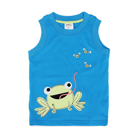 Frog Baby Children Boy Pure Cotton Vest Short Sleeve T-shirt Top