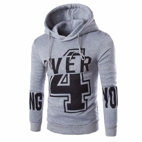 Men's Fall Winter NO.4 Printing YOUNG Printing Cotton Lining Hoodies Sweatshirt