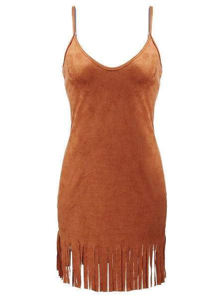 Sexy Women Tassels Strap Camel Deep V Neck Backless Camisole Mini Skater Suede Dress
