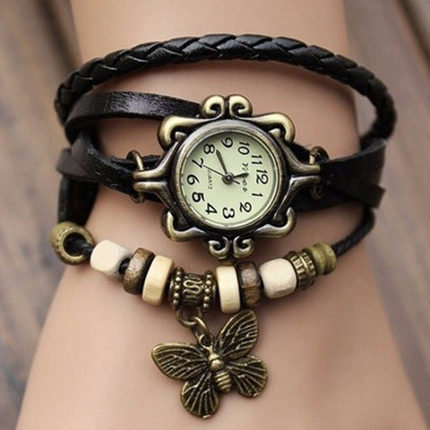Leather Alloy Butterfly Pendant Wrist Watch