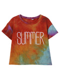 Women Short Sleeve O Neck Gradient Letter Printed Casual T-shirt