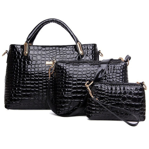 Stylish Elegant Crocodile Patchwork Pattern Handbag