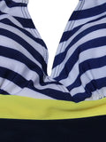 Women Sexy Navy Striped One Piece Swimwear Deep V Halter Dress Swimsuit
