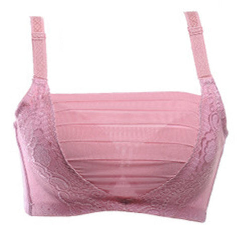 Women Sexy Adjustable Tube Top Bras Embroidered Lace Gather Bras