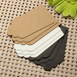 100pcs 7X4CM Scallop Kraft Paper Label Party Wedding Gift Name Cards Hand Draw Name Card