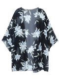 Women Sexy Floral Printed Bikini Cover Up Chiffon Cardigan Blouse Beachwear