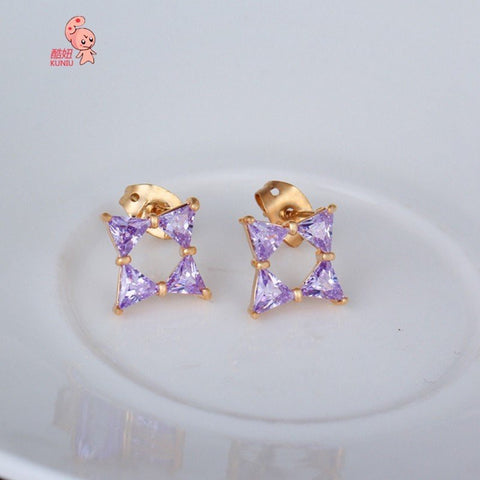 18K Gold Plated Rhombus Stud Earrings