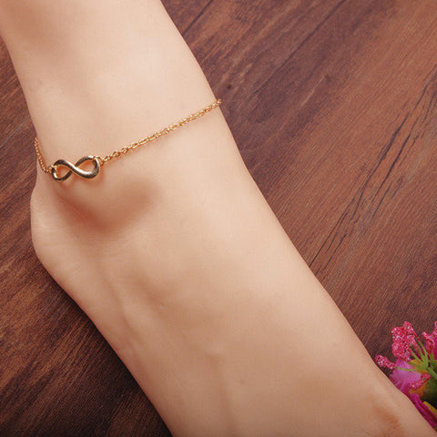 Silver Plated 8 Infinity Metal Chain Anklet