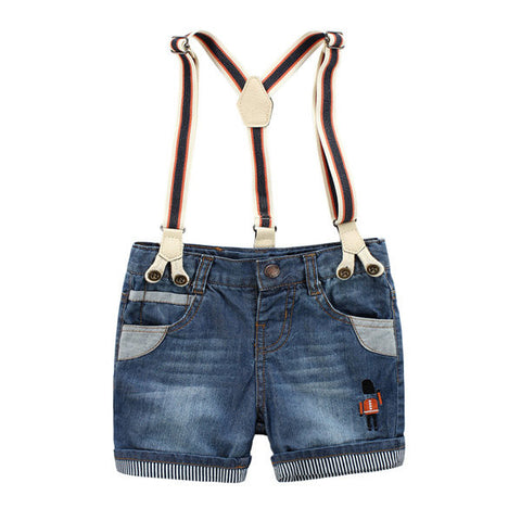 Children Boy Summer Jeans Super Soft Washing Shorts Pants Suspender Trousers