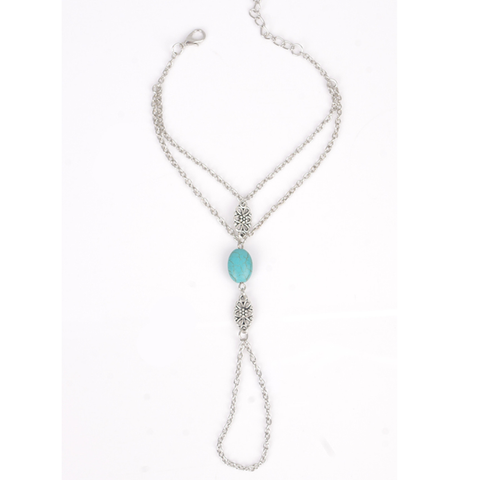 Simple Carved Turquoise Multilayer Tassel Beach Alloy Anklet