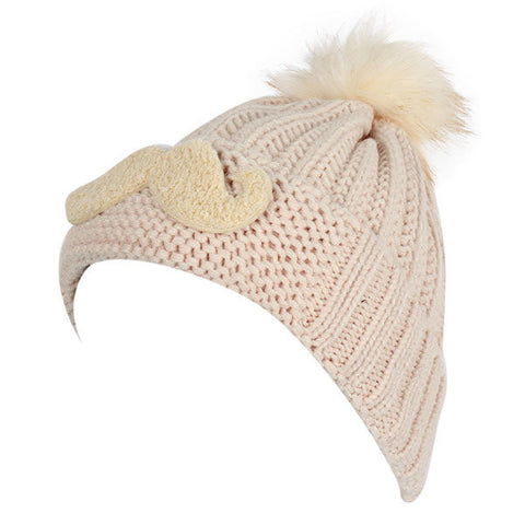 Cute Rabbit Fur Ball Mustache Embroidery Knitted Crochet Cap Warmer Slouch Beanie Hat
