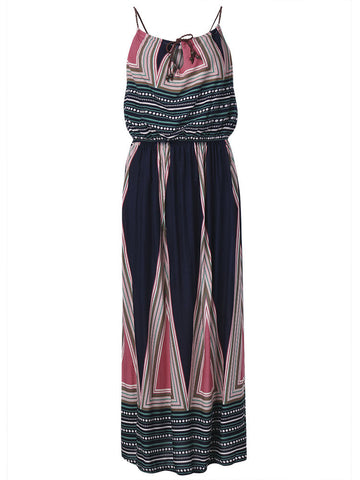Bohemian Women Strap High Waist Drawstring Maxi Dress Summer Beachwear - shechoic.com