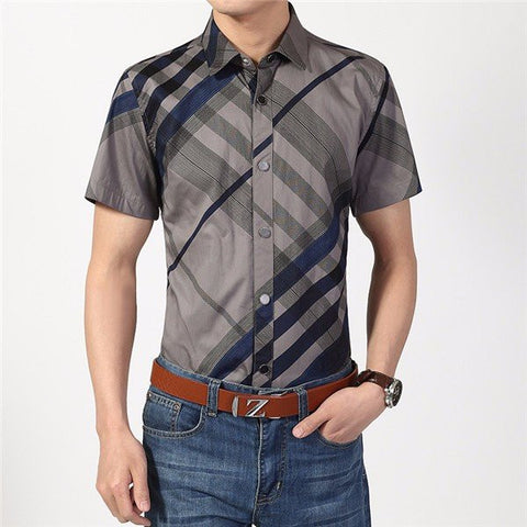 Large Size Mens Spring Summer Stripe Thin Casual Turn down collar Shirts