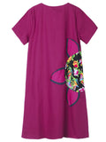 Chinese Style Floral Printed Dress Short Sleeve Summer Dress For Women