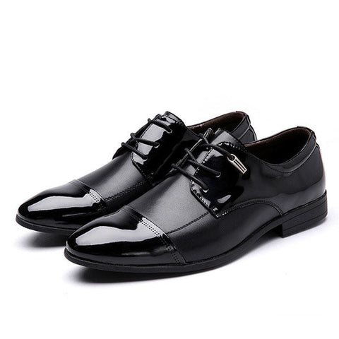 Big Size Men Color Match Ponited Toe Formal Business Lace Up Flat Shoes