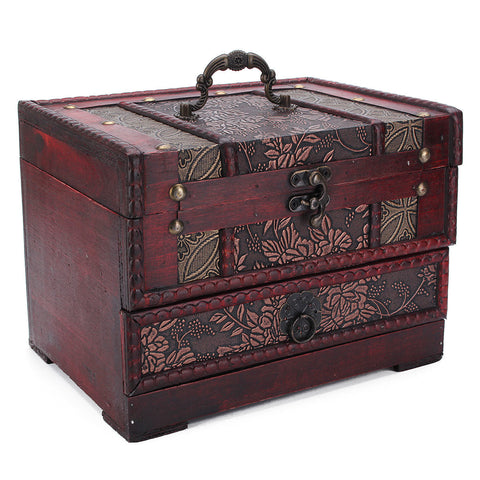 Flower Carved Wooden Jewelry Storage Box Container Case