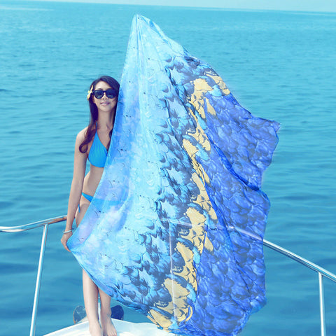 180*150CM Women Summer Long Scarves Chiffon Beach Towels Sunscreen Printed Soft Shawl