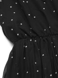 Casual Women Elastic Waist Dot Chiffon Bowknot Collar Dress