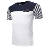 Summer Casual Cotton Striped Printing Letters Fashion Tees Short Sleeve T-shirt For Men