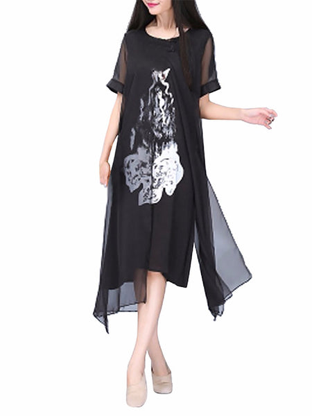 Women Short Sleeve O Neck Printed Double Layers Split Vintage Dress