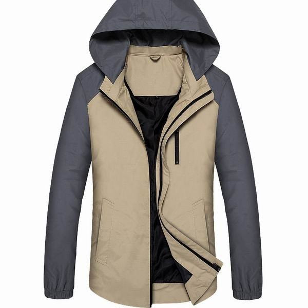 Men's Waterproof Windproof Lightweight Detachable Hooded Jacket With Zippered Chest Pocket