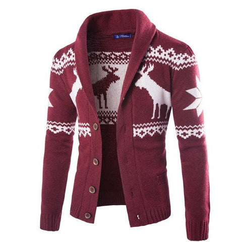 Men's Fall Winter Casual Christmas Deer Turndown Collar Knitted Cardigan Sweater